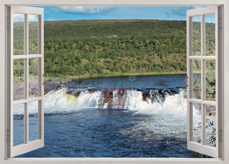Öppet fönster till floden royaltyfri fotografi