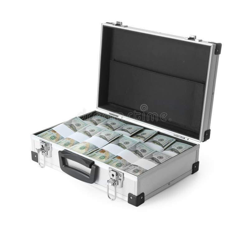 Öppet hårt fall mycket av pengar på vit bakgrund royaltyfri bild