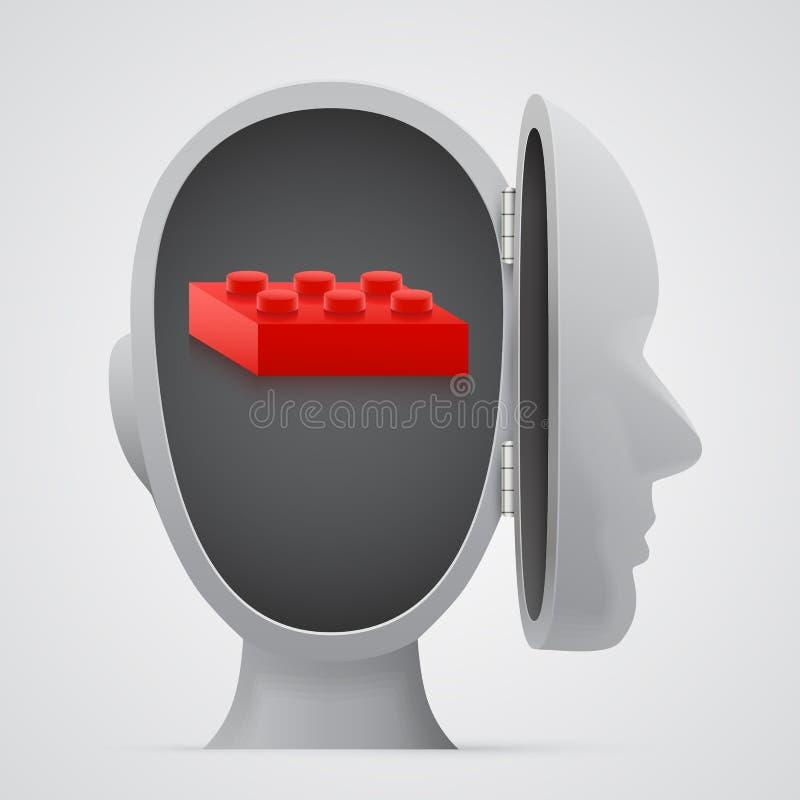 Öppet huvud för kvarterinsida Logikbegrepp stock illustrationer