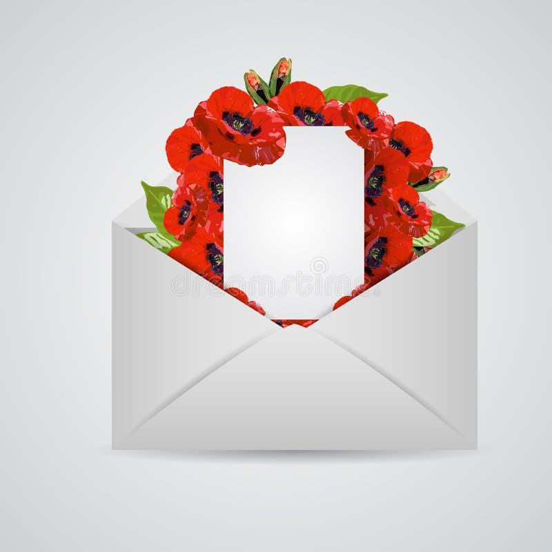 Öppet kuvert med den ljusa bokstaven Modernt utsmyckat för sommarblommabegrepp vektor illustrationer