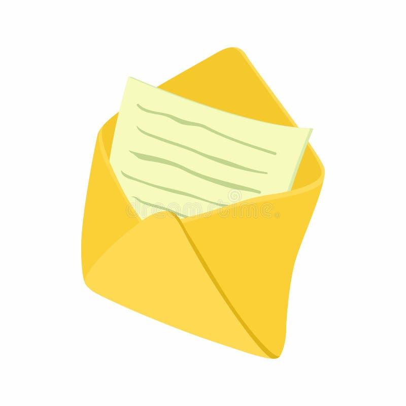 Öppet kuvert med notepadarksymbolen vektor illustrationer