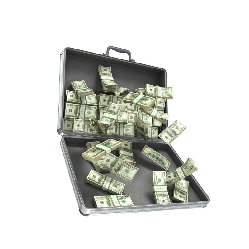 öppet metallfall för illustration 3d med pengar stock illustrationer