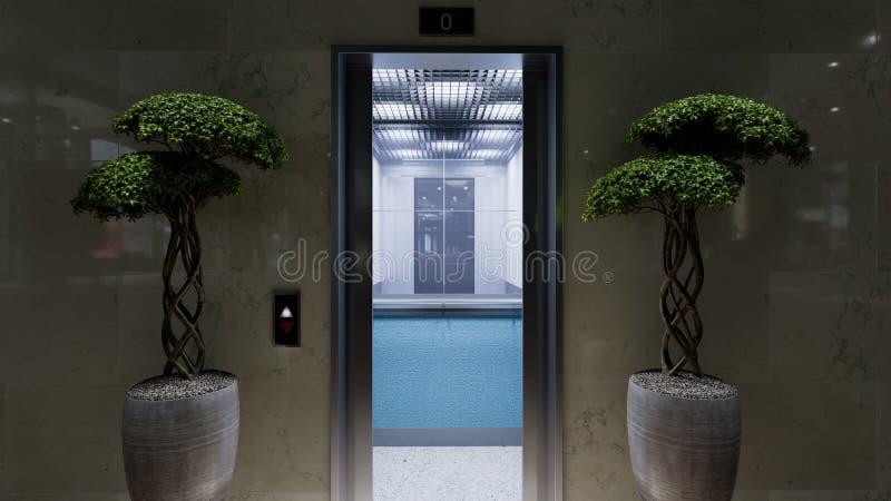 Öppet och stängt begrepp för dörrar för hiss för krommetallkontorsbyggnad royaltyfri bild