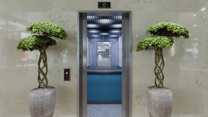 Öppet och stängt begrepp för dörrar för hiss för krommetallkontorsbyggnad royaltyfri fotografi