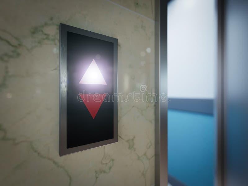 Öppet och stängt begrepp för dörrar för hiss för krommetallkontorsbyggnad royaltyfria bilder