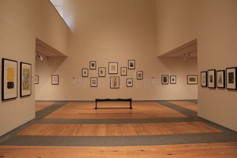 Öppet område i rum med talrika stycken av konst, Portland Art Museum, Maine, 2016 arkivbild