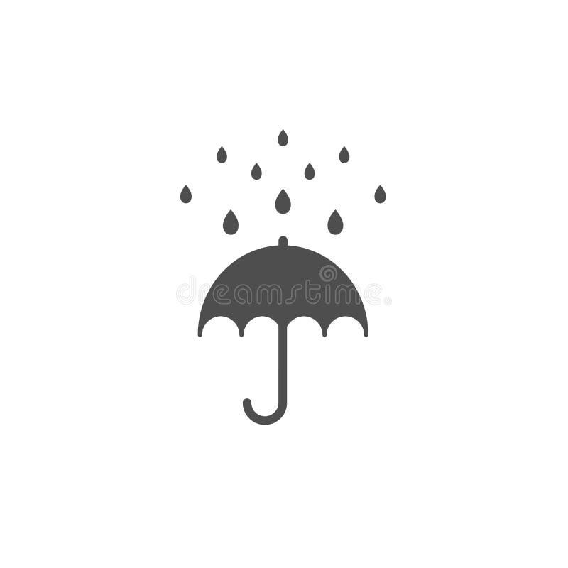 Öppet paraply för svart med regndroppar Plan symbol som isoleras på vit Plan design också vektor för coreldrawillustration royaltyfri illustrationer