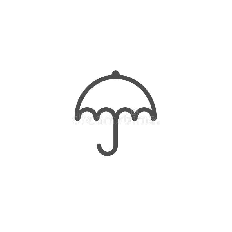 Öppet paraply för svart Plan linje symbol som isoleras på vit också vektor för coreldrawillustration Symbol för regnskydd Regnigt stock illustrationer