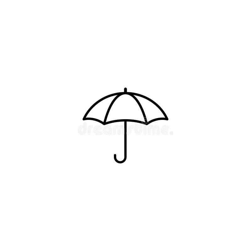 Öppet paraply för svart Plan linje symbol som isoleras på vit också vektor för coreldrawillustration Symbol för regnskydd Regnigt vektor illustrationer