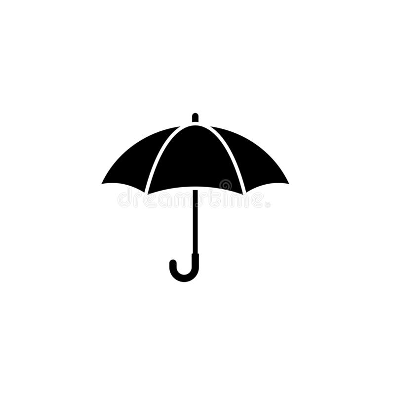 Öppet paraply för svart Plan symbol som isoleras på vit Plan design vektor vektor illustrationer