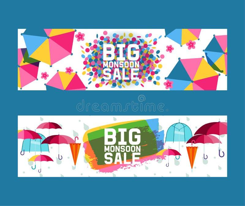 Öppet paraply och stängd uppsättning av banervektorillustrationen Stor mansoonförsäljning plana symboler som isoleras p? vit regn royaltyfri illustrationer