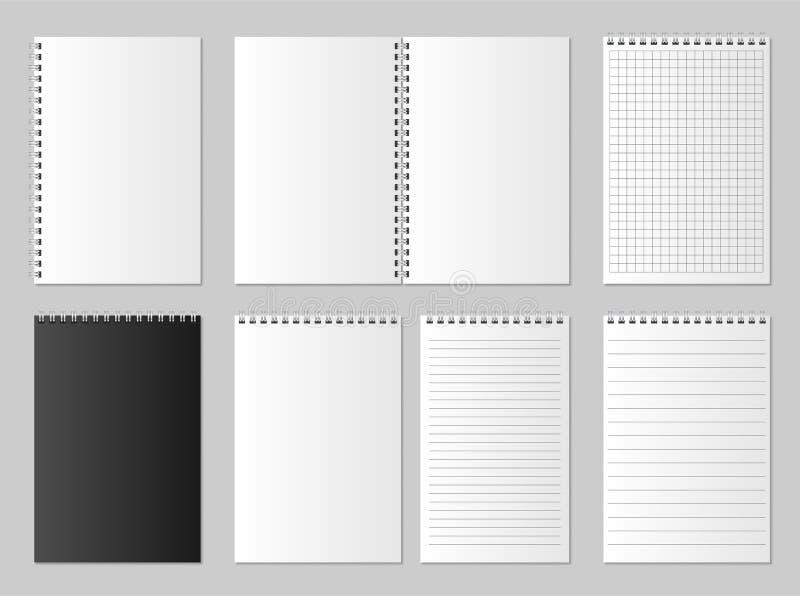 Öppet realistiskt mellanrum och stängd organisatör Anteckningsbok- och notepaduppsättningåtlöje som isoleras upp Organisatör för  royaltyfri illustrationer