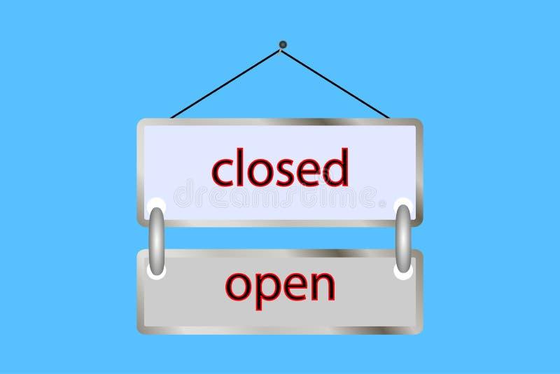 öppet stängt för minnestavla vektor shoppa tappning, affisch stock illustrationer