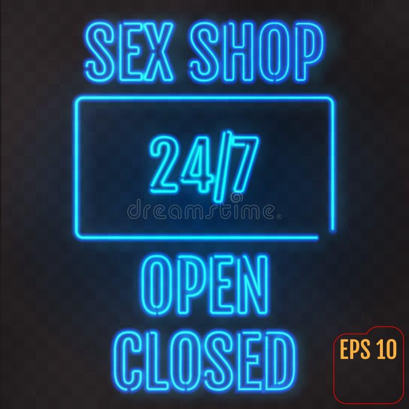 Öppet stängt, sexshop, 24/7 timmar neonljus på genomskinlig bac royaltyfri illustrationer