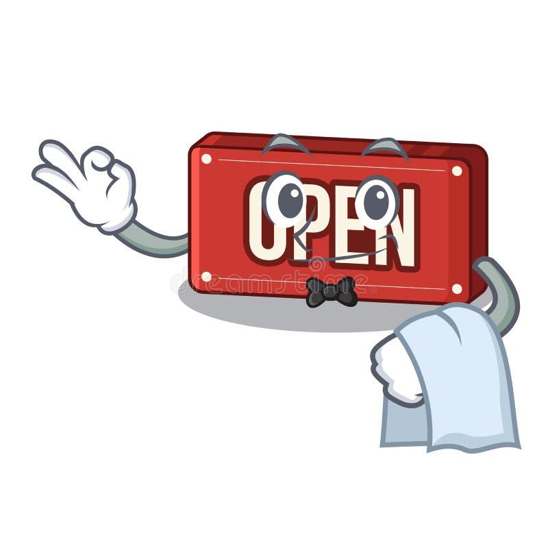 Öppet tecken för uppassare på a-charcteren stock illustrationer