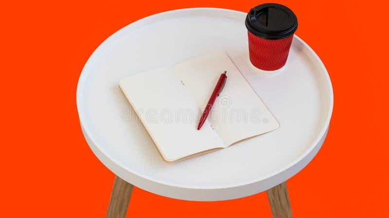 Öppet tomt tomt anmärkningspapper med den röda pennan, den röda pappkoppen kaffe som går på den vita runda tidskriftsträtabellen, arkivbild