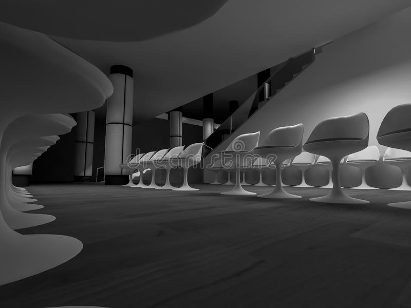 öppet utrymme, rent rum med former i 3d, affärsutrymme och wor stock illustrationer