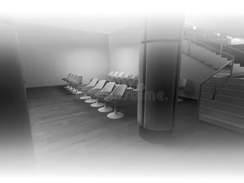 öppet utrymme, rent rum med former i 3d, affärsutrymme och wor vektor illustrationer