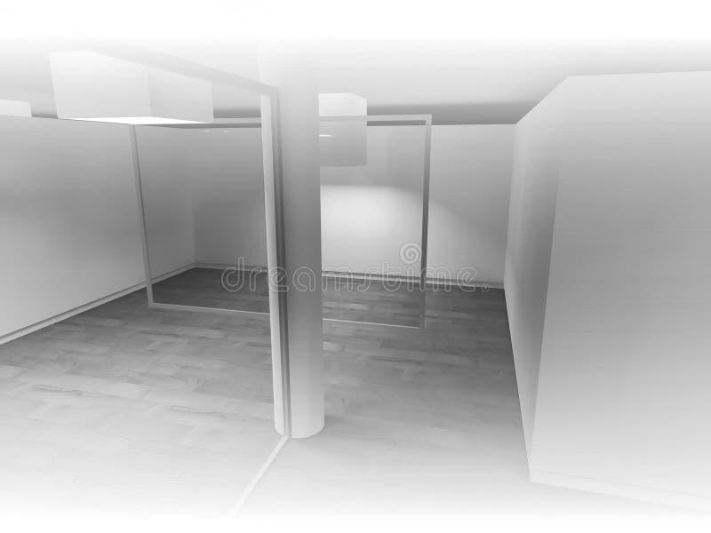 öppet utrymme, rent rum med former i 3d, affärsutrymme och wor royaltyfri illustrationer