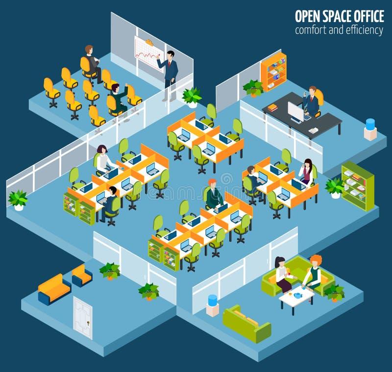 Öppet utrymmekontor stock illustrationer