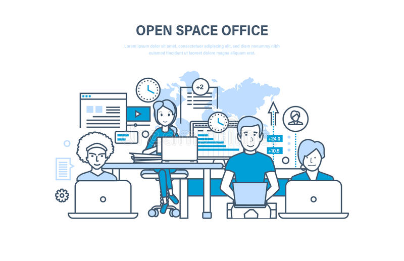 Öppet utrymmekontor inre lokal Samarbete partnerskap, teamwork vektor illustrationer