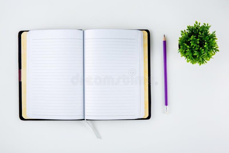 Öppna anteckningsboken eller dagboken för påminnelse och minneslistan och stadsplaneraren som isoleras på vit bakgrund royaltyfria bilder