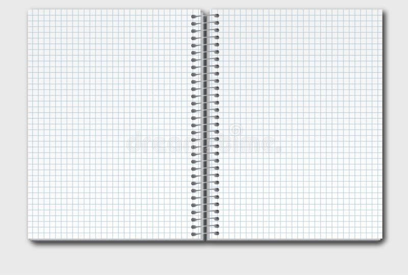 Öppna anteckningsboken i ask stock illustrationer