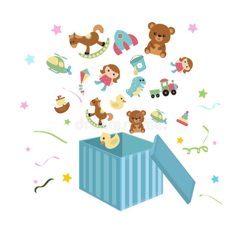 Öppna asken med symboler för barn` s royaltyfri illustrationer