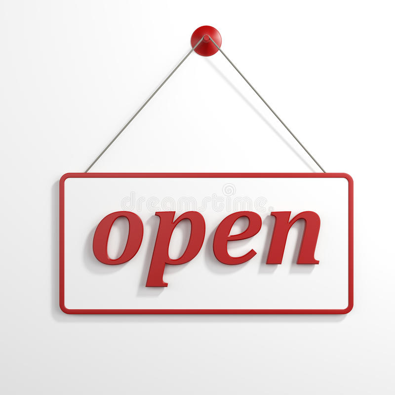 Öppna att hänga för tecken stock illustrationer