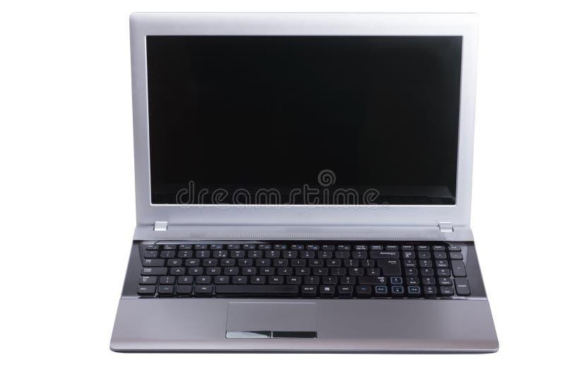 Öppna bärbar datordatoren med den tomma skärmen royaltyfri fotografi