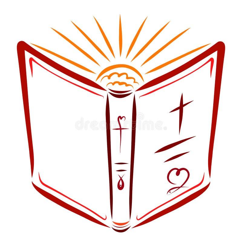 Öppna bibeln och den glänsande solen, helighet och tro royaltyfri illustrationer