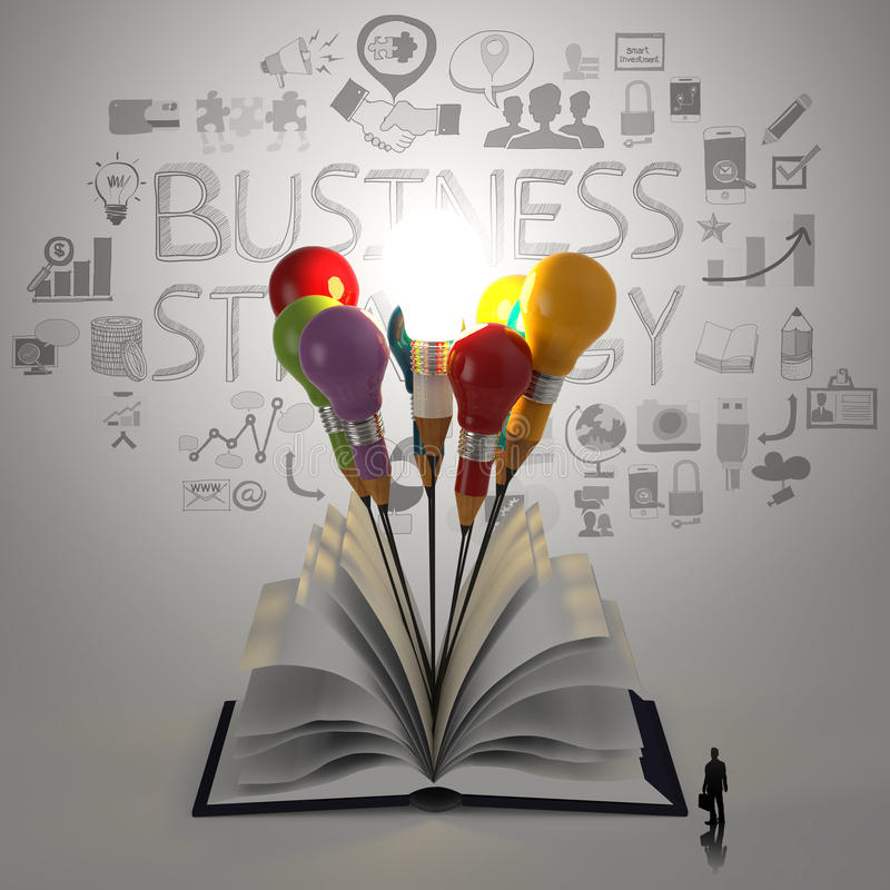 Öppna boken med blyertspennalightbulben stock illustrationer