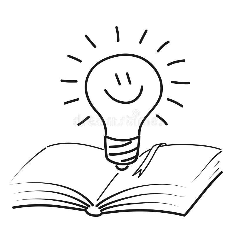 Öppna boken med den gulliga le lampan Makt av kunskap Pictogram av inspiration och idén Vektorillustrationen skissar in vektor illustrationer