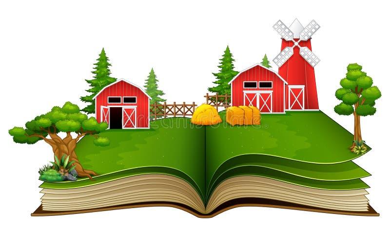 Öppna boken med den lantgårdplats, ladugården och träd på en vit bakgrund royaltyfri illustrationer