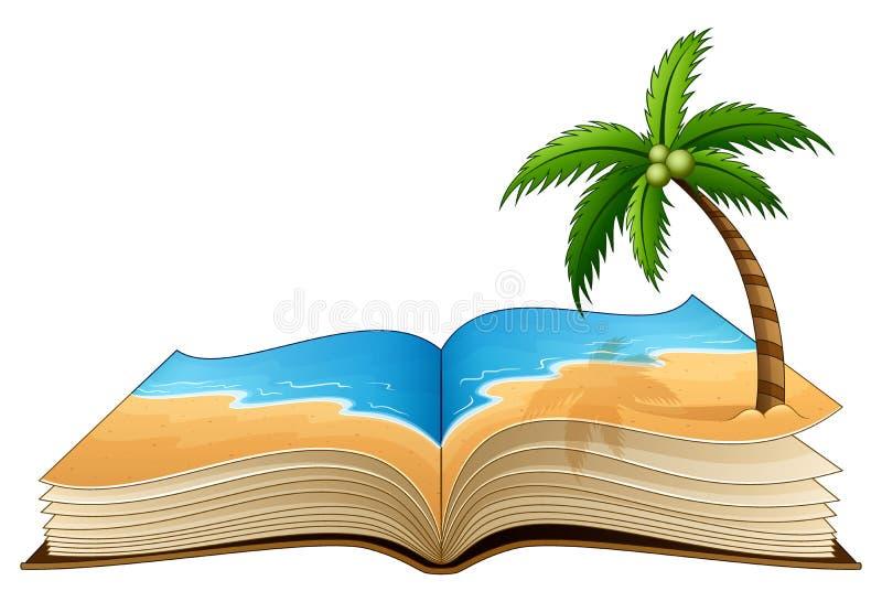 Öppna boken med den tropiska stranden på en vit bakgrund stock illustrationer