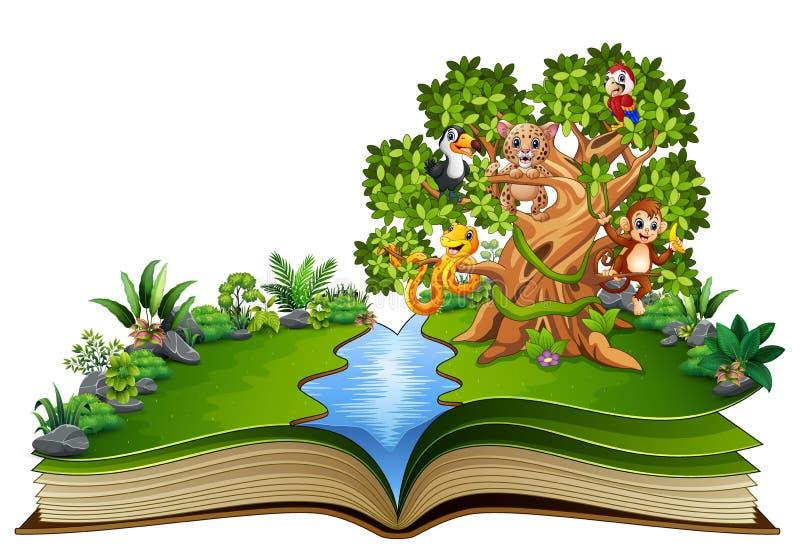Öppna boken med djurtecknade filmen på träden royaltyfri illustrationer