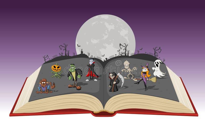 Öppna boken med fullmånen över en kyrkogård med klassiska gigantiska tecken för den roliga tecknade filmen royaltyfri illustrationer