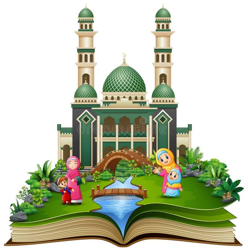 Öppna boken med gruppen av lycklig muslimkvinna och hennes barn framme av en moské royaltyfri illustrationer