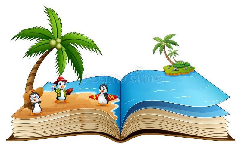 Öppna boken med gruppen av tecknade filmen som surfar pingvinet på stranden royaltyfri illustrationer