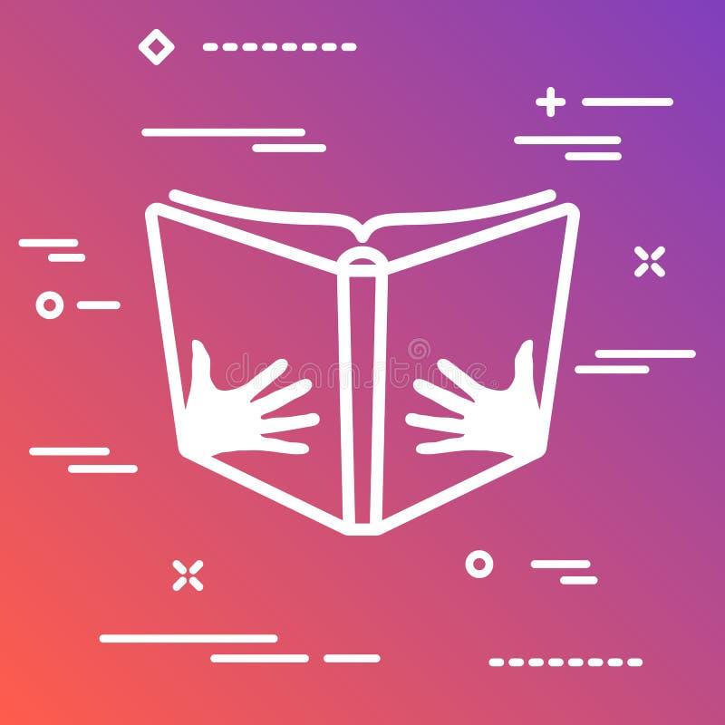 Öppna boken med handvektorsymbolen på en färgrik lutningbackgrou stock illustrationer