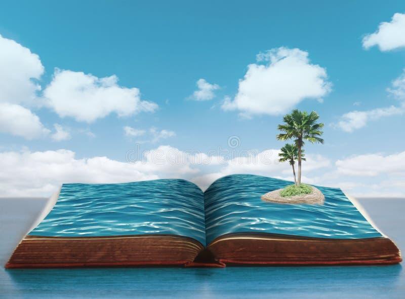 Öppna boken med havet och ön med palmträd fotografering för bildbyråer
