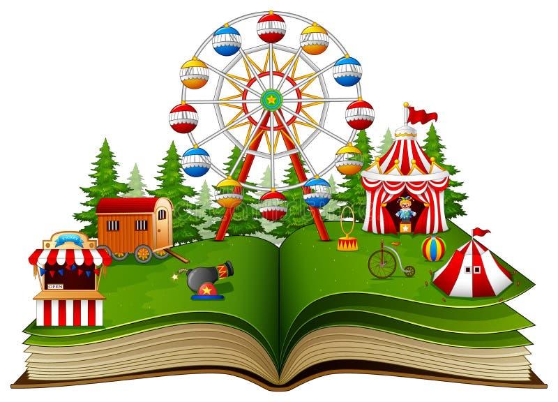 Öppna boken med lekplatsen på en vit bakgrund royaltyfri illustrationer