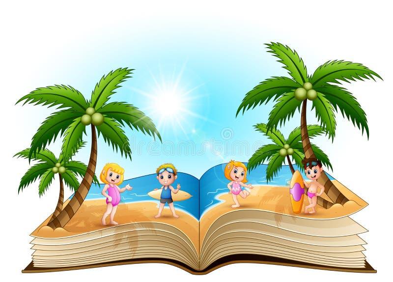 Öppna boken med lyckliga barn för tecknade filmen på stranden vektor illustrationer