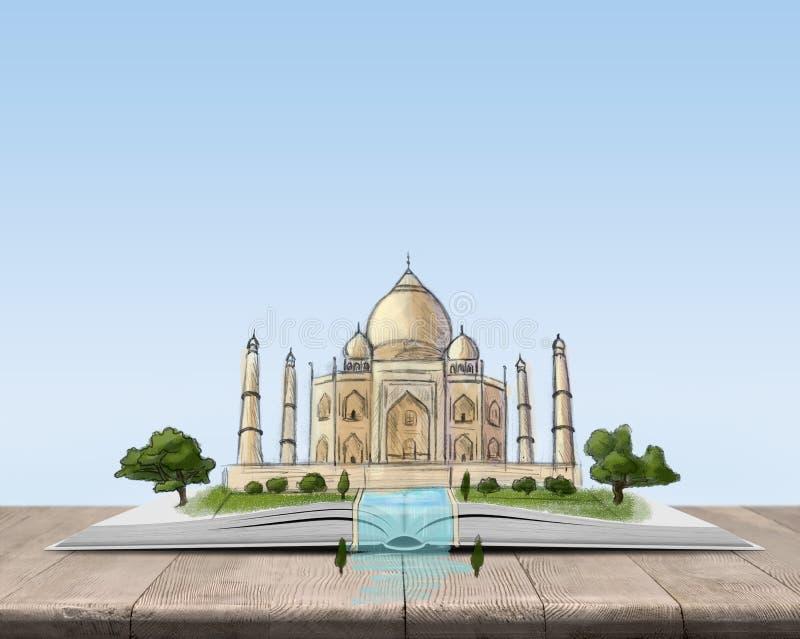 Öppna boken med skissar av Taj Mahal stock illustrationer