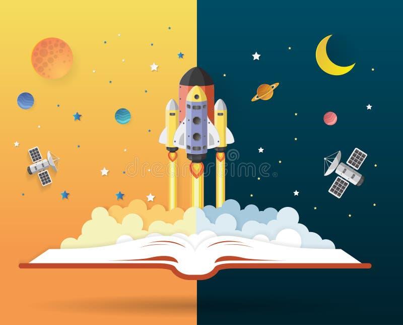Öppna boken med solsystemet, rymdfärjan, planeter, stjärnor, Eart royaltyfri illustrationer