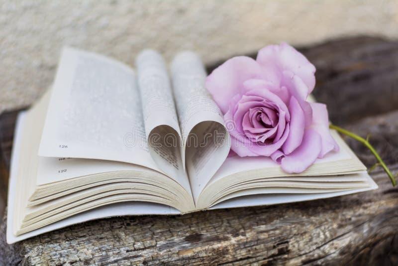 Öppna boken med steg på en träbakgrund arkivbild