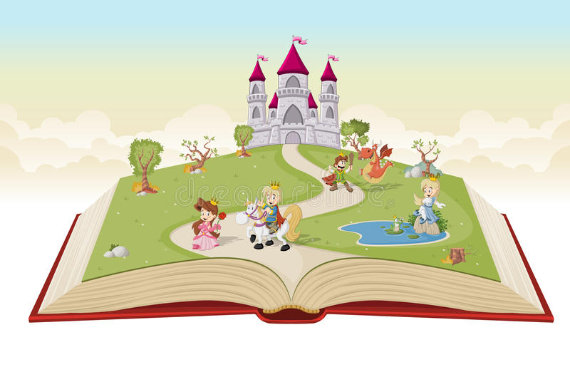 Öppna boken med tecknad filmprinsessor och prinsar stock illustrationer
