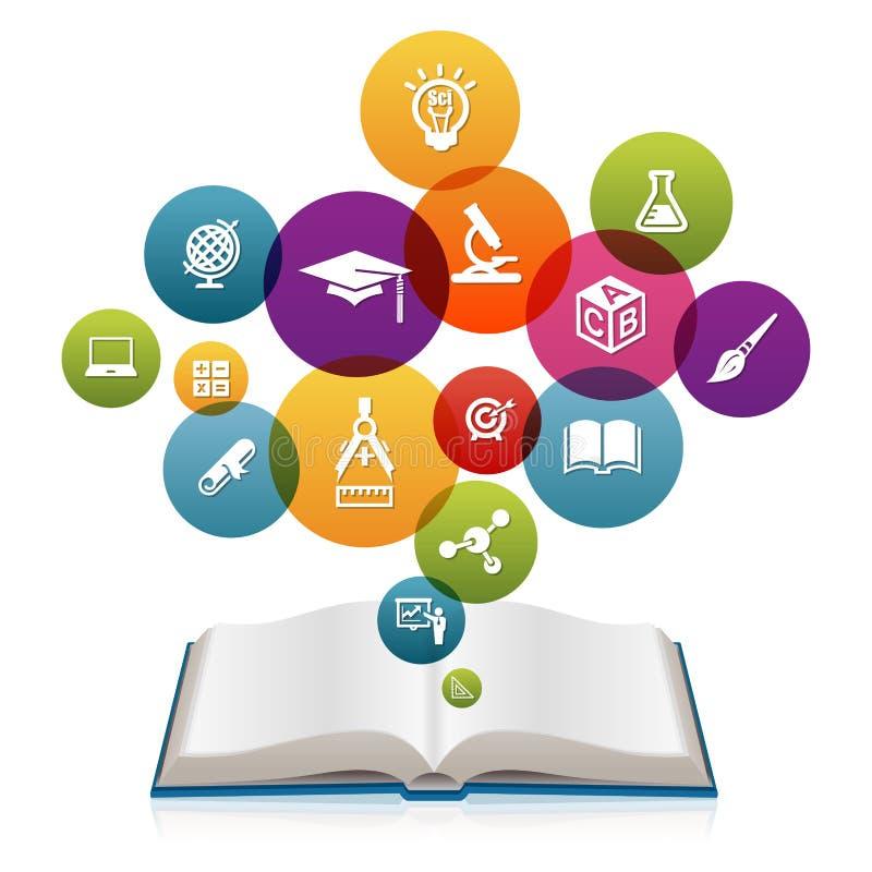 Öppna boken med utbildningssymboler stock illustrationer