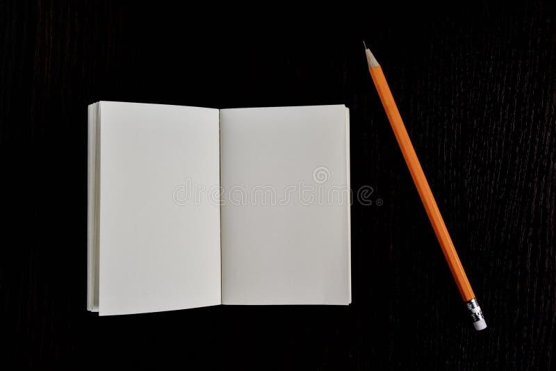 Öppna boken och blyertspennan för dagbok den fick- fotografering för bildbyråer