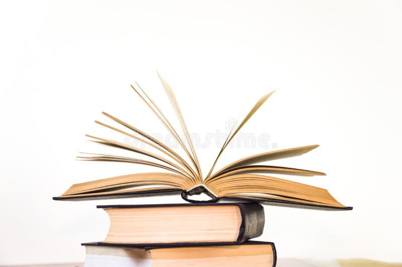 Öppna boken på en ljus bakgrund royaltyfria foton
